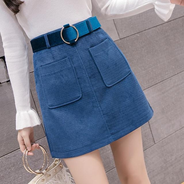 8d123cf93 Fashion Corduroy Mini Skirts Womens Winter High Waist Pockets Skirt with  Sashes Harajuku Plus Size Ladies Skirts jupe femme