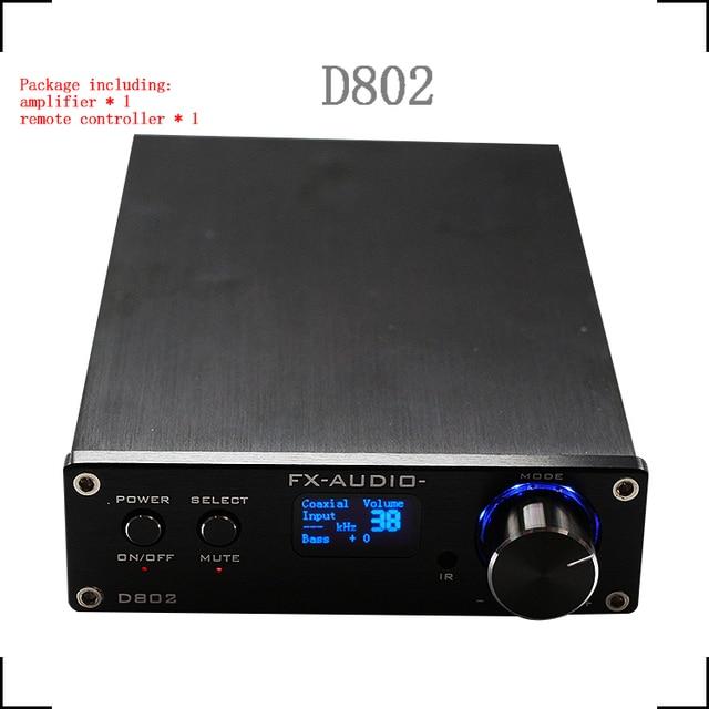 FX-Audio D802 Remote Control USB Optical Fiber Coaxial Input Home Audio Hifi Pure Digital Amplifier 192KHz 80W+80W OLED Display