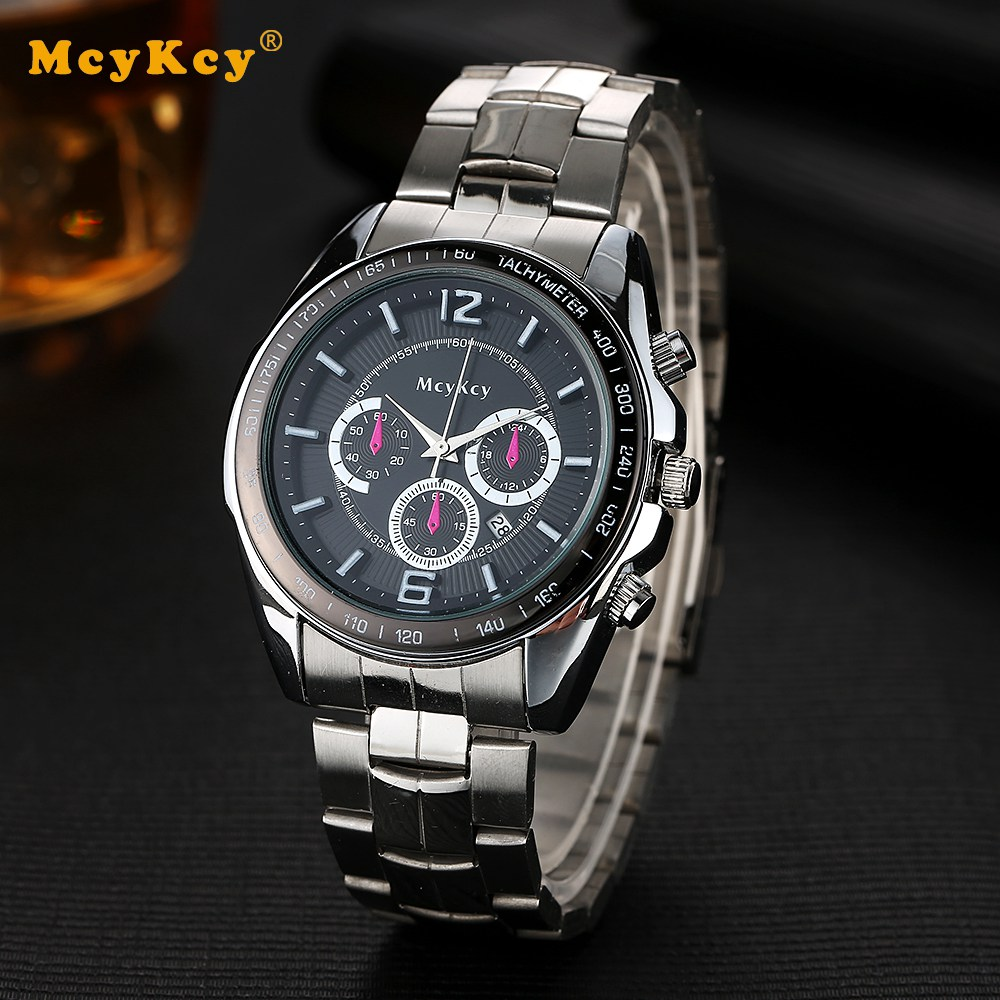 MCYKCY Brand Fashion Steel Men Watch Casual Clock Luxury Business Wristwatch Silver Mens Sport Quartz Watches For Men Watch 2010 2015 for vw volkswagen tiguan trunk cargo cover security shield shade black