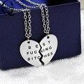 Las Mejores Putas de Corazón roto 2 Piezas Colgante de Oro Collar de Plata Collar de La Joyería Declaración Cadena Collar Mejor Amigo Para Siempre