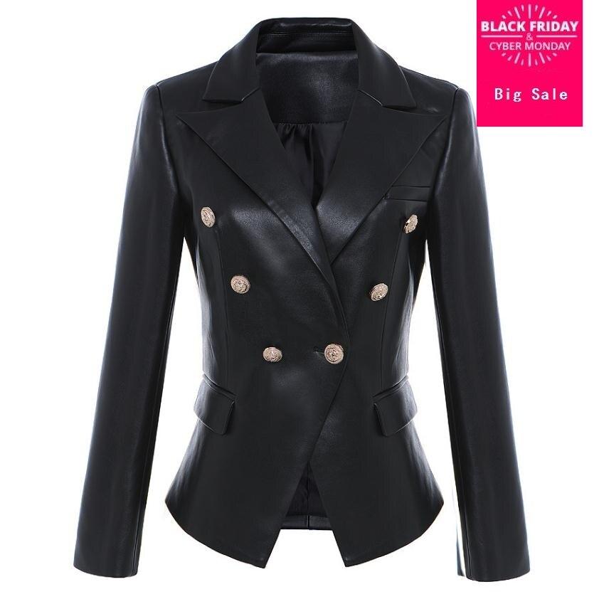 Модный бренд металла пуговицы pu кожаный пиджак 2019 Весна Новый для женщин Корейская версия двойной груди костюм куртка wj2008