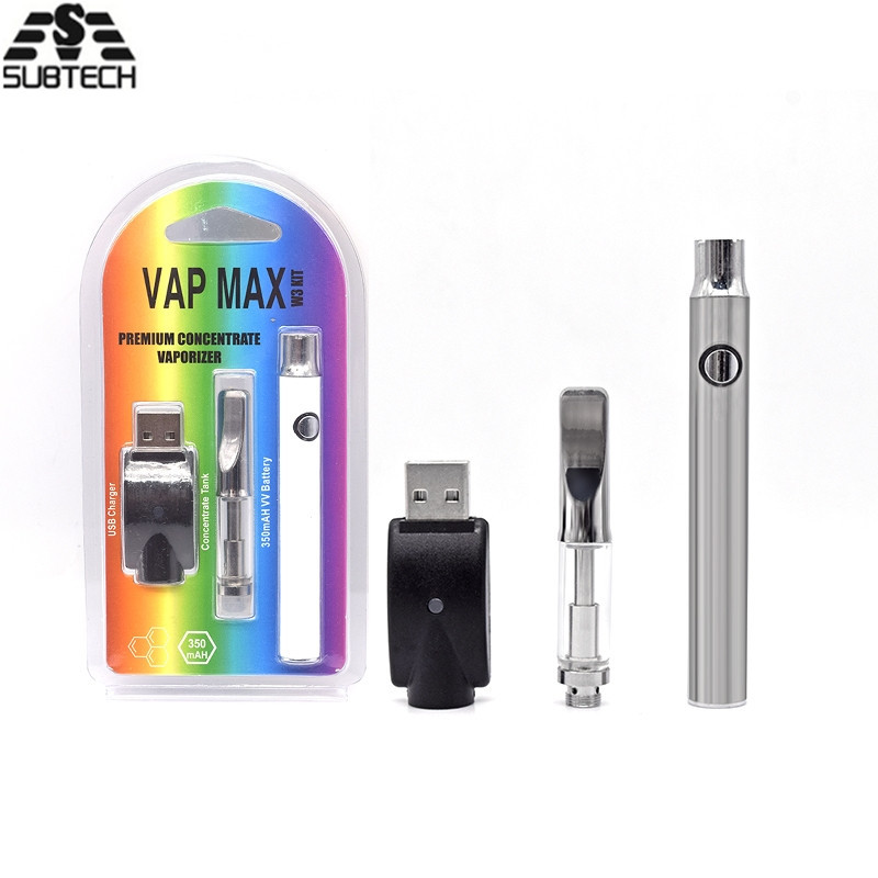 5pcs/lot Vap Max Premium Preheat VV Battery Kits 350mah vape battery with  92A3 CBD oil Cartridge 510 Vape Pen kit high quality