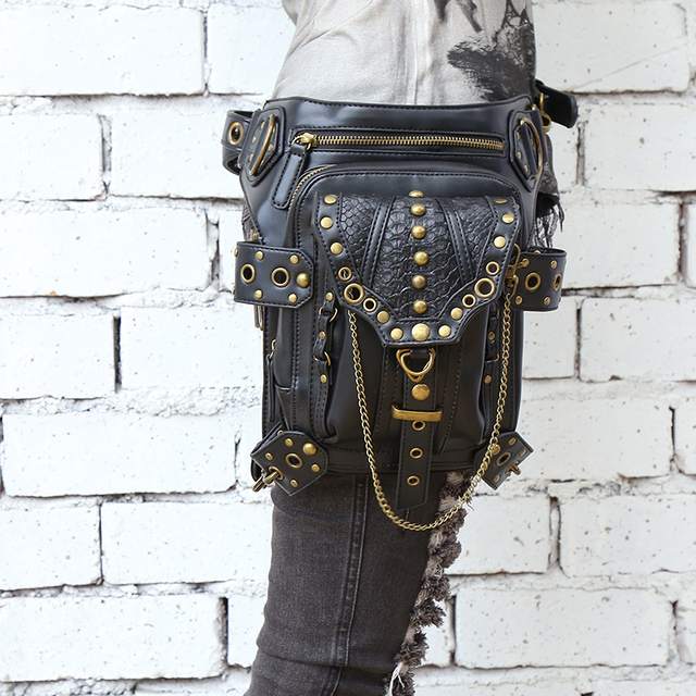 Steel Master the new 2016 steampunk retro rock bag mini fashion mobile phone bag messenger shoulder bag men and women waist bag