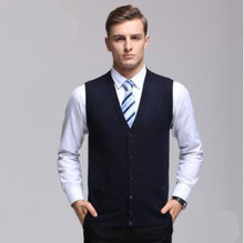 New Fall and Winter Men Wool Vest Warm V-Neck Clothing Solid Color Tank Tops Sleeveless Sweater Smart Casual Outerwear