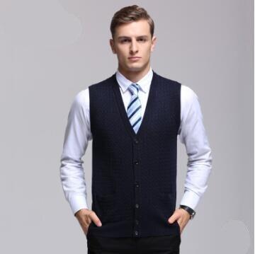Nouvelle Chute et D'hiver Hommes Laine Gilet Chaud V-cou Vêtements Solide Couleur Débardeurs Sans Manches Chandail Smart Casual Survêtement