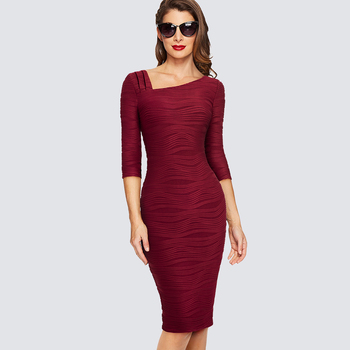 Elegant Bodycon Slim Lady Dress Women Casual Office Business Pencil Dress