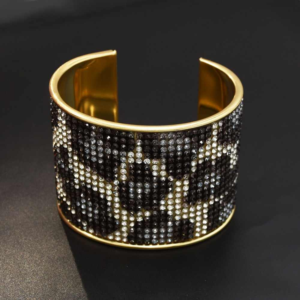 Women's Punk African Gold Rhinestone Cuffs Open Bracelet Armband Crystal Unique Leopard Bracelet Arm Turkey For Women Jewelry