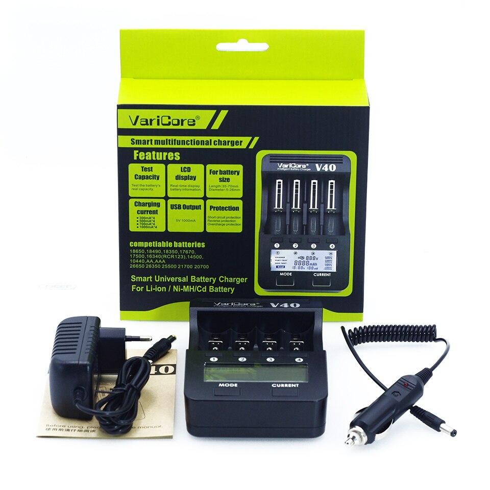 New 2018 VariCore V40 3.7V 18650 26650 18350 16340 18500 25500 10440 17500 NiMH 1.2V AA AAA 5 V output LCD smart battery charger
