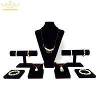 Free Air Small Silver Jewelry Displays Kit Black Velvet Showcase For Pendant Necklace Bracelet Holder Stand