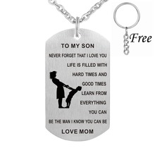 Stainless Steel Mother and Son Jewelry Carved Words Mom And Son Metal Tags Pendant Necklace