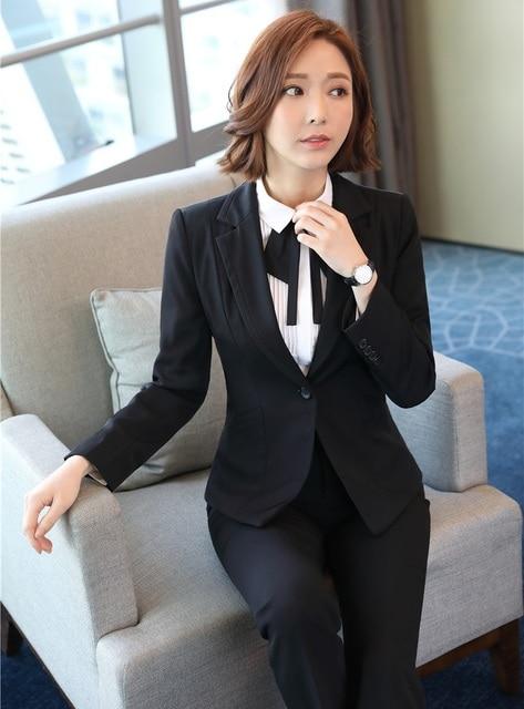 e2e82a9ff1cc Eleganti per Donna Blazer Nero Donne Pant Abiti Da Lavoro Wear Set Tailleur  Pantalone Disegni Uniformi