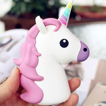 Portable Battery Charger 8000 mah Funny Cute Emoji Unicorn Power Bank 18650 Charge Cartoon Powerbank Mini External Battery Bank(China)