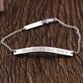 Nome personalizado Homens Pulseiras & Pulseiras Stamped Mensagem Dois Encantos Pulseira de Prata Sólida para o Natal Presente Memorial