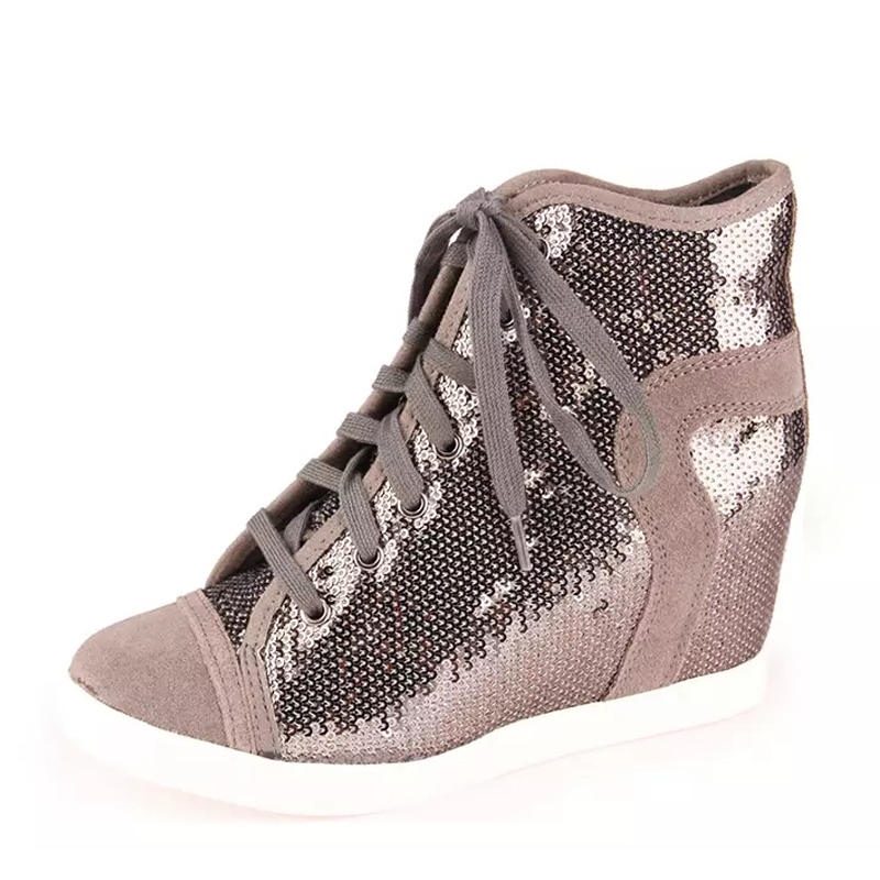 ФОТО Sequins embroidery short slope increased documentary in shoe leather boots new shoes high-heeled boots 305
