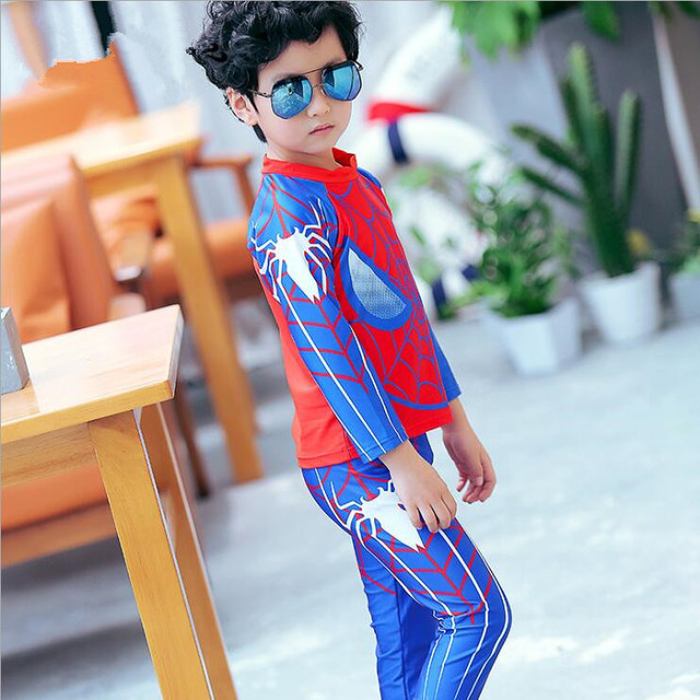 2017 New Boys Swimwear Two Pieces Long Sleeve Spider Man Pattern Kids Children Swimsuit Clothing+Pants Bathing Suit Beach Wear