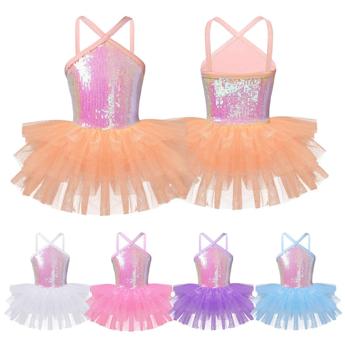9277e221b7a0c ... iEFiEL Kids Child Teenager Sleeveless Halter Sequins Gymnastics Leotard  Dance Tutu Dress for Girls Ballerina Class ...