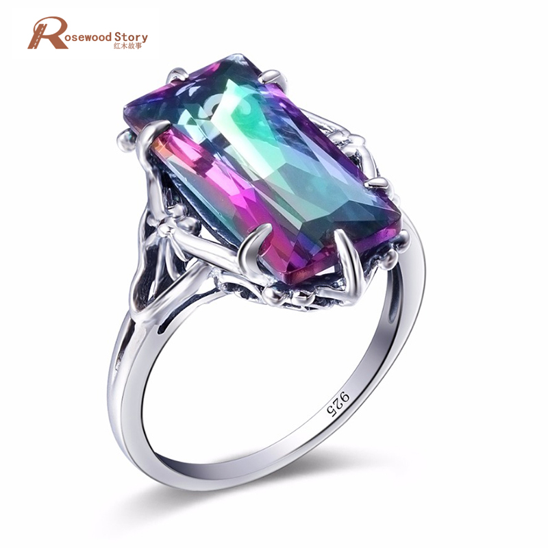 Dreamcatcher anillo Arco Iris místico fuego Topza anillo de cóctel de cristal sólido de Plata de Ley 925 mujeres de noche Vintage joyería de fiesta