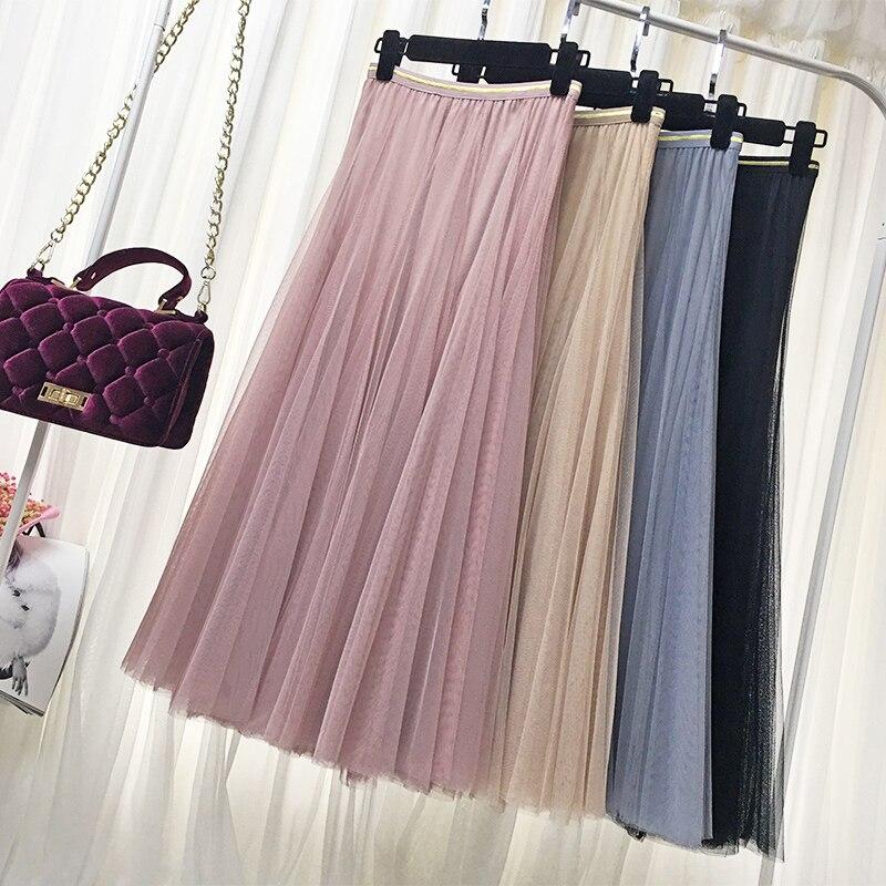Tulle Skirts Womens Jupe Longue 2018 Casual Summer Autumn Wild Harajuku Elastic High Waist Long A-line Solid Skirt Saia Feminina