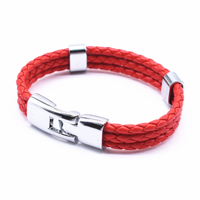 17 Fashion Unisex Jewelry Red String Bracelet 3 Layer Handmade Braided Leather Rope Men Women Hand Strap Charm Bracelet 4