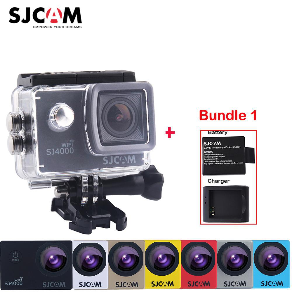 Extra Battery and Charger ,Original SJCAM SJ4000 WiFi 2 Screen 12MP NTK96655 30M Waterproof Sports Action Camera Car Mini DVR