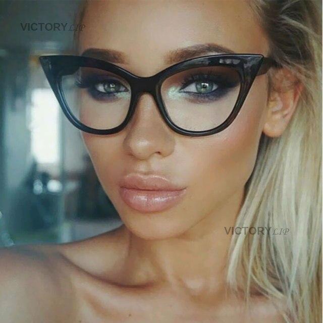 1cccf34c1d VictoryLip Vintage Retro Cat Eye Women Sunglasses Fashion Transparent lens  Brand Designer Sun Glasses Lady Clear Female