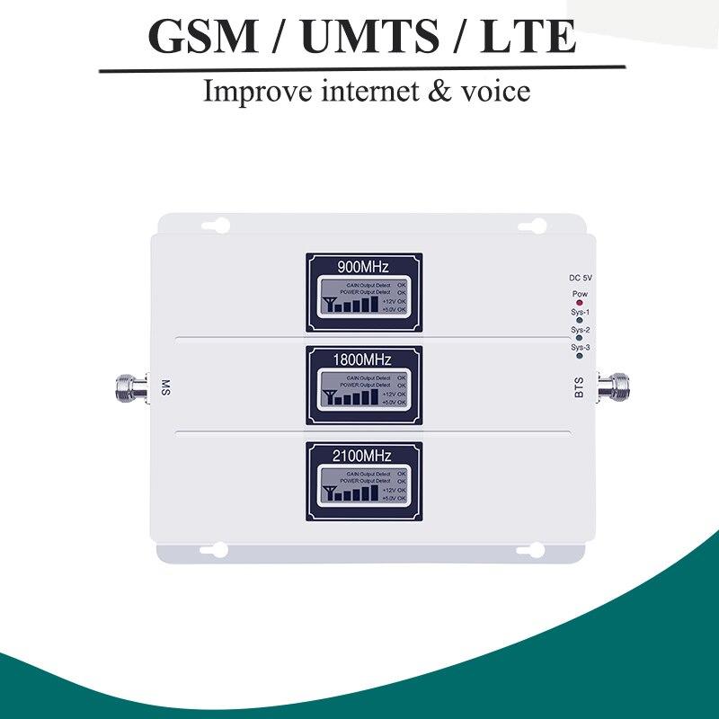 Lintratek ALC GSM 900 3G 2100 LTE 1800 amplificador de señal celular repetidor de tres bandas pantalla LCD teléfono móvil 4G amplificador S8