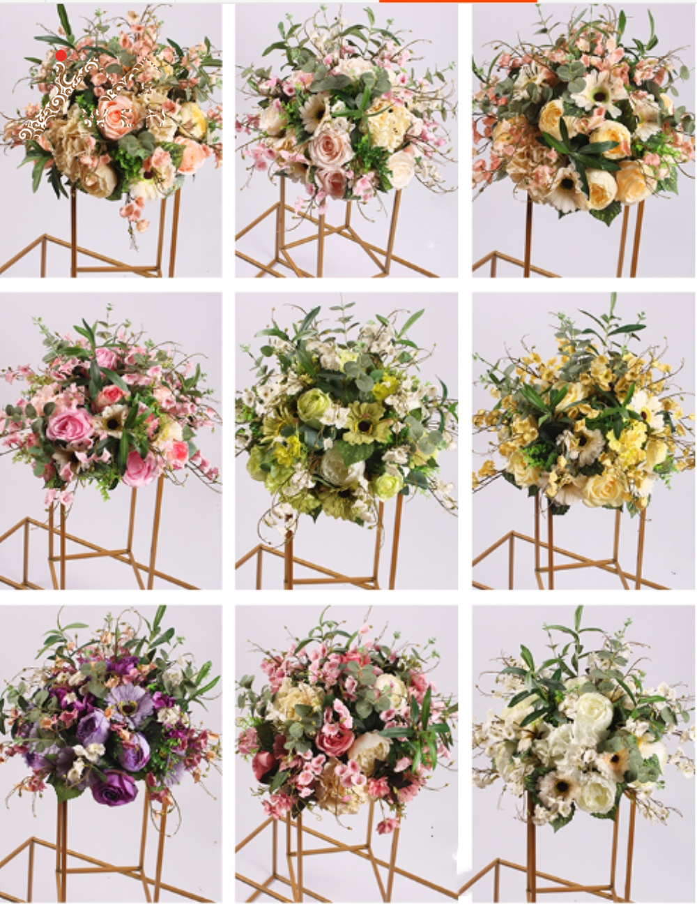 Silk Flower Ball Flower Rack For Wedding Centerpiece Home Room Decoration Party Supplies DIY Road Lead Craft Flower 9 Color