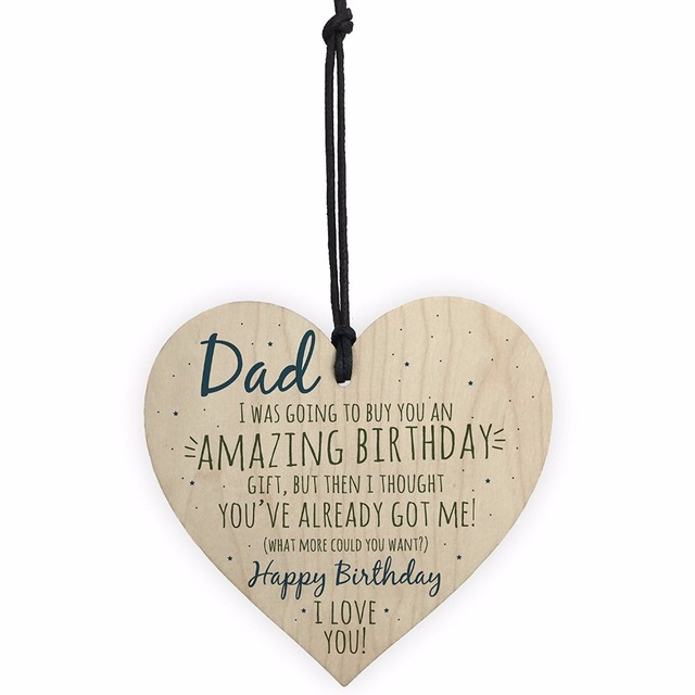 Meijiafei Amazing Happy Birthday Wooden Heart Dad Daddy Father Funny Card Baby Son Daughter Love Gift