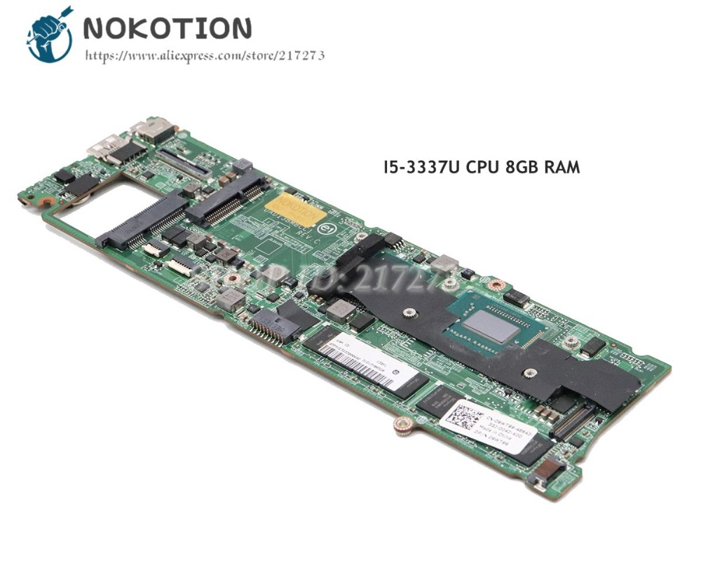 NOKOTION For Dell XPS 13 L322X Laptop Motherboard I5 3337U CPU 8GB RAM DAD13BMBCC1 CN 09WT99 09WT99 MAIN BOARD