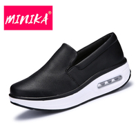 MINIKA New Brand Women Casual Leather Shoes Round Toe Design Comfortable Mother Shoes Waterproof Winter Warm Keep Flat Shoes