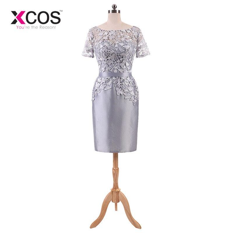 XCOS élégant gris mère De la mariée robes De grande taille à manches courtes dentelle 2018 Vestido De Madrinha mère du marié robes