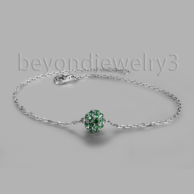 Solid 14k White Gold Green Corundum Bracelets For Women Bridal Diamond Jewelry NA0020