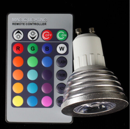 Free shipping 1pcs Energy Saving 4w GU10 E27 MR16 RGB E14 LED Bulb Lamp light Color changing IR Remote