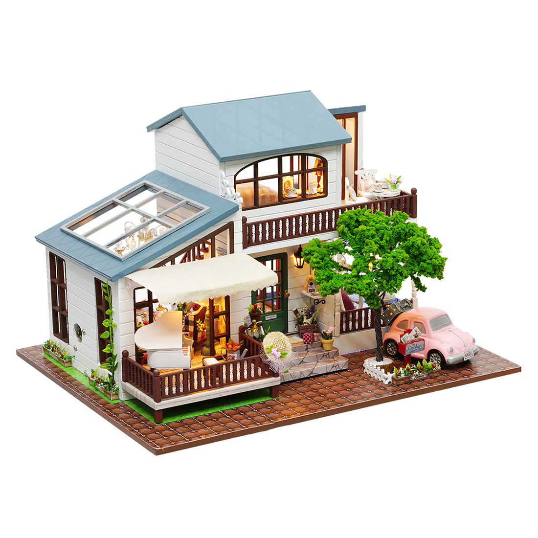Wooden Diy Dollhouse Toy Miniature Box Puzzle Dollhouse Diy Kit Doll House Furniture London Holiday Model