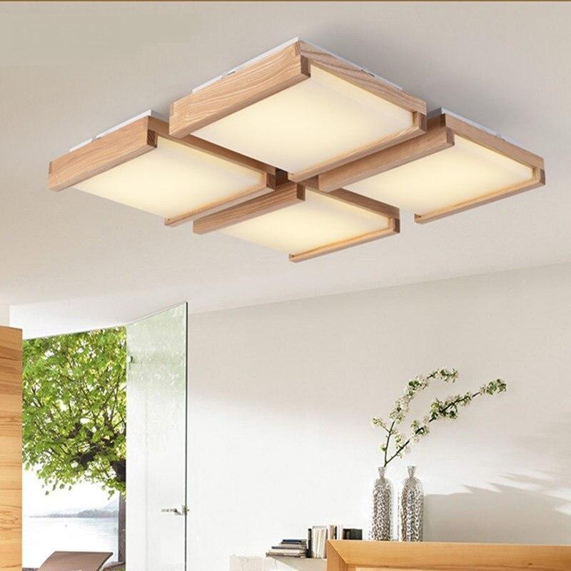 Wooden rectangular ceiling light living room restaurant light simple modern hall wood log lamps solid wood ceiling lamps MZ79| | |  - title=