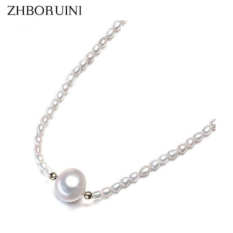 ZHBORUINI Pearl Necklace Natural Freshwater Pearl Drop Water Pearl Choker Necklace Pearl Jewelry 925 Sterling Silver Jewelry ночная сорочка quelle arizona 226493