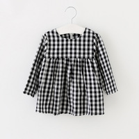 100 Cotton Bear Leader Baby Girls Dress 2017 Spring Full Sleeves New Casual Plaid Princess Dress