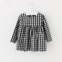 100 Cotton Bear Leader Baby Girls Dress 2017 Spring Full Sleeves New Casual Plaid Princess Dress
