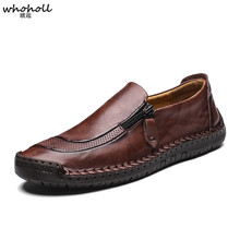 WHOHOLL Soft Leather Men Loafers New Handmade Casual Shoes Moccasins For Comforable Flat zapatos de hombre