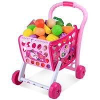 2019 New Disney Minnie Series Supermarket Children's Kitchen Play House Simulation Baby Trolley Set Toys birthday gifts