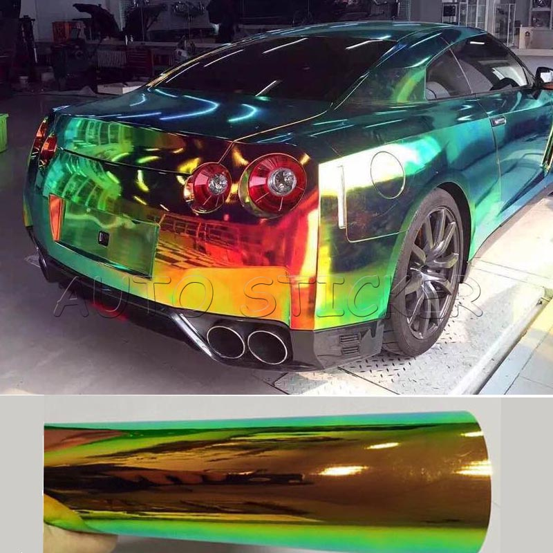 Chrome Car Wrap >> 2016 Newest 1 35 20m Glossy Colorful Rainbow Chrome Color Changed