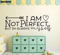 Perfect Love Heart Myself Quote Wall Art Sticker Decal Wall Art Home Decoration Wall Sticker Removable
