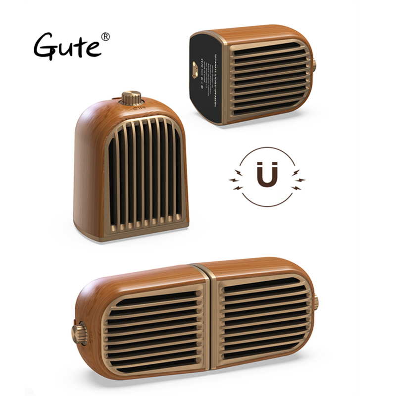Rechtdoorzee Gute 1 Paar Retro Massief Houten Ontwerp Magnetische Afneembare Speaker Bluetooth 4.2 Draagbare Houten Portatil Caixa De Som Computer Pc