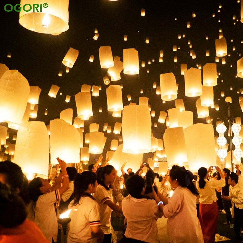 White paper lanterns with lights - 10pcs Chinese Paper Lantern Sky Lanterns Flying Wishing Lamp Kongming Lantern Balloon Wedding Party Decoration