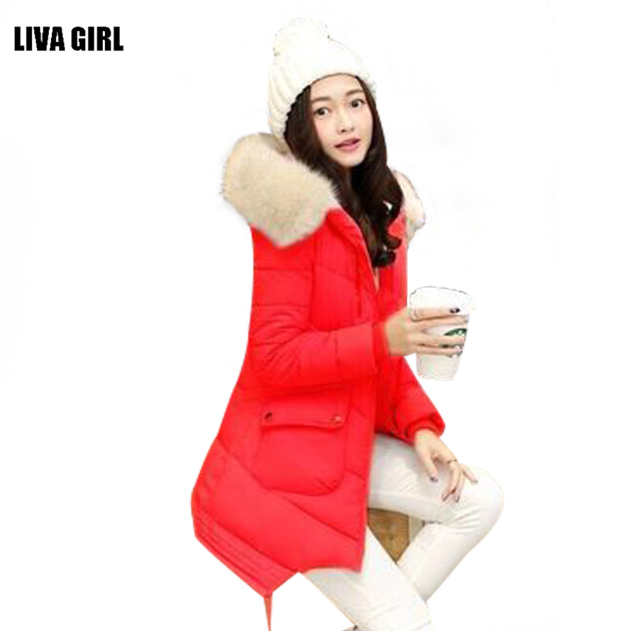 ФОТО Winter Women Fashion 2016 Warm Down Cotton Wadded Jacket Long Women Coat Solid Female Padded Overcoat Hooded Coat Parkas Outwear