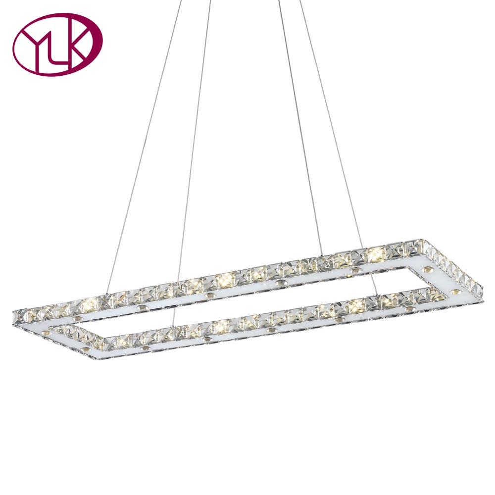 Youlaike Rectangle Modern LED Chandelier For Dining Room Kitchen Island Modern Crystal Light Mirror Stainless Steel Hanging Lamp