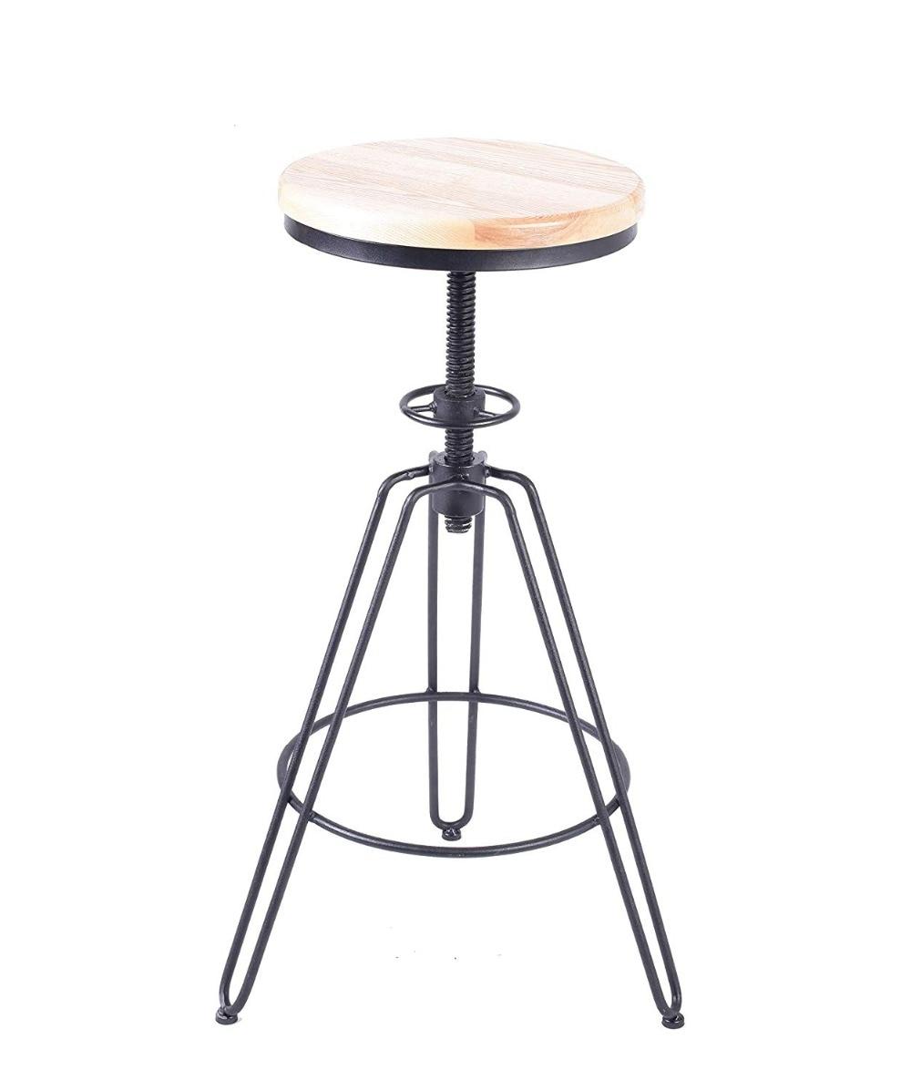 Vintage Industrial Bar Stools Wood Metal Bar Stool Adjustable Height Swivel Chairs Counter Bar Stools