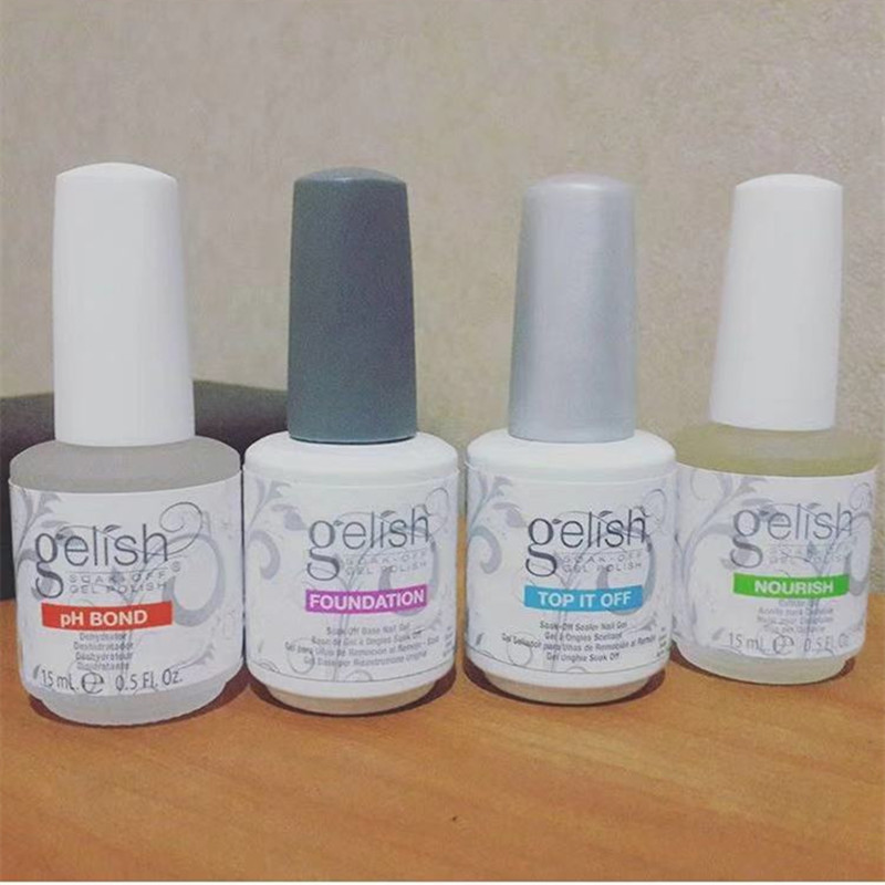 Gelishpolish 4pcs/set Soak Off Gel Nail Polish: BASE TOP COAT PH BOND OIL NOURISH title=