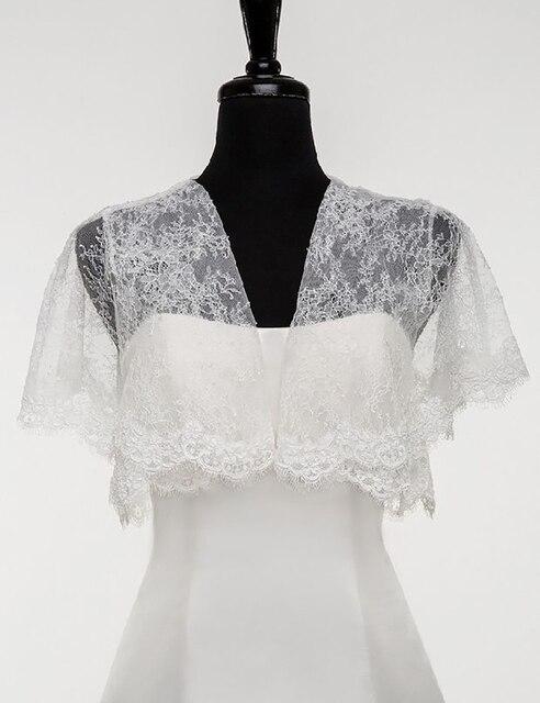 Jaquetas de renda Bolero para Vestidos De Noite Branco Jaquetas de Noiva Cap Mangas de Renda Encolhe Os Ombros de Noiva Capes Wraps Partido Frete Grátis