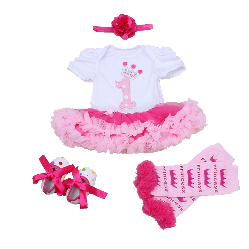 Summer 2016 Newborn Baby Girl Clothes 1st Birthday Outfit Lace Romper Dress Headband Leg Warmers Crib Shoes Infant Clothing Sets newborn infant baby girl clothes strap lace floral romper jumpsuit outfit summer cotton backless one pieces outfit baby onesie